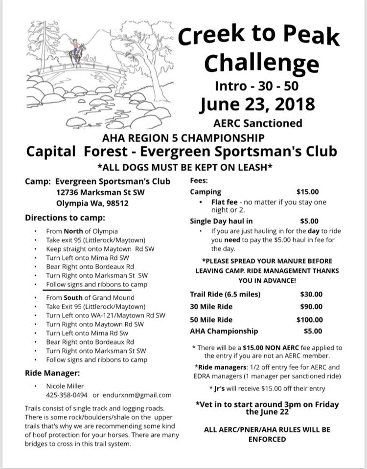 2018 Region 5 Championship Endurance Ride:  Creek to Peak