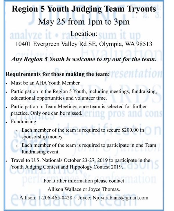 2019 region5 Youth Judging Flyer